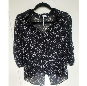 Butterfly print button down blouse